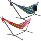 Premium Quality Cotton Hammock Bed With Space-Saving Steel Stand FREE Carry Bag