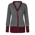 Womens Low Cut V-Neck Long Sleeve Knit Snap Button Stripe Cardigan Sweater Tops