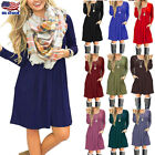 Womens Casual Swing Sundress Long Sleeve Pocket Solid Loose Tunic T-Shirt Dress