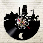 Leaning Tower of Pisa Vintage Vinyl Record Clock Italian Landcape Led Watch