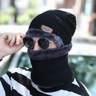 2-Pieces Men Women Winter Beanie Hat+Scarf Set Warm Knit Thick Fleece Lined Caps