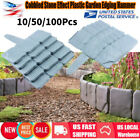 10-100pcs Cobbled Stone Effect Plastic Garden Edging Hammer-In Lawn Palisade