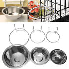 Stainless Steel Hanging Bowl Feeding Bowl Pet Bird Dog Food Water Cage Cup 9T