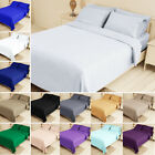 Bed Fitted Sheet Set Flat Sheet Pillowcase Bedding Twin XL Queen King 14 colors image