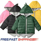 Toddlers Girl Boy Dinosaur Cotton Padded Hooded Jacket Winter Coat Thick Outwear