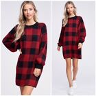Julie Red Buffalo Plaid Checkered Sweater Lantern Sleeve Casual Holiday Dress