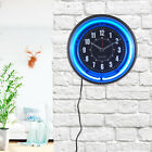 Quality 11 Vibrant Blue/Pink Neon Analog Wall Clock Retro Style New Home
