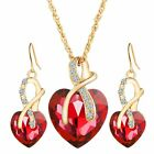Gold Coloured Jewellery Set For Women Heart Crystal Necklace & Earrings