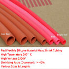Red Flexible Soft Silicone Heat Shrink Tube 200 C HIGH TEMP Sleeving Sizes Lens