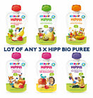 3 x Hipp Bio Puree Baby Food Banana Pear Apple Kiwi From 4, 6 Month each 100g