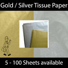 Gold or Silver METALLIC TISSUE PAPER 5 Pack 50X66cm Birthday Christmas VALUE