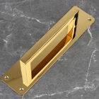 Front Wood Plate Rectangle stainless Door Handle Gold