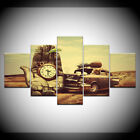 Vintage Pocket Clock and Car 5 Pcs Canvas Wall Picture Poster Home Decor