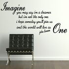Lennon Imagine Song Lyic - Interior Wall Quote / Removable Wall Quote Art QU79