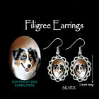 AUSTRALIAN SHEPARD DOG - SILVER  FILIGREE EARRINGS Jewelry