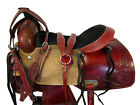 TRAIL SADDLE WESTERN HORSE PLEASURE 17 16 15 BROWN LEATHER FLORAL TOOLED TACK