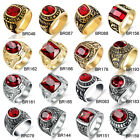 Mens Vintage Silver Gold Stainless Steel Rings Red Garnet Cz Biker Jewelry Band