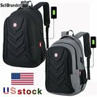 Swiss EVA Protect shell 15.6' Laptop Backpack USB Charge Port Travel School Bag