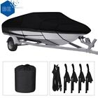Waterproof Heavy Duty Boat Cover Trailerable Fishing Ski Bass V-Hull Runabouts