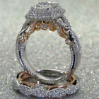 2PCS Women Lady Wedding Engagement Set Silver Plated Crystal Ring Jewelry UK