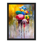 Umbrellas+In+The+Rain+Painting+Framed+Wall+Art+Print+18X24+In