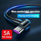 5A USB Type-C Charger Elbow Data Cable Fast Charging For Huawei P30 Samsung S10