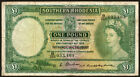 Southern Rhodesia: 1954 Queen Elizabeth II One  Pound (£1) Banknote P.13c