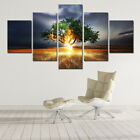 Thunder attacks Tree in Field 5 Pcs Canvas Wall Art Picture Poster Home Decor