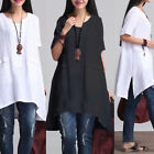 Boho Womens Cotton Linen ShortSleeve Kaftan Tops Casual Loose Blouse Shirts Plus