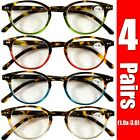 4 Pairs Mens Women Spring Hinge Round Horn Power Oval Reading Reader Glasses 1-3