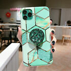 For Samsung Galaxy S10 S8 S9 Plus A70 Geometric Marble Phone Case &Holder Stand