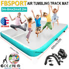 3-8Mx2M Inflatable Air Track Gymnastics Airtrack Floor Tumbling Fitness Mat+Pump image