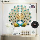 3D Large Wall Clock Luxury Peacock Metal Living Room Wall Watch Home Deco