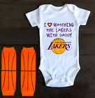 Los Angeles Lakers Onesie Bodysuit Shirt Outfit Love Watching With Daddy on eBay
