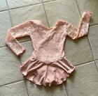 NEW Girls PEACH Sequin LACE Bodice VELVET Competition FIGURE ICE SKATING Dress