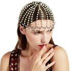BABEYOND Vintage 1920s Crystal Flapper Cap Headpiece Pearl Rhinestone Headpiece