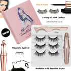 3 Pair Magnetic Liquid Eyeliner With Waterproof 3d Mink False Eyelashes Natural
