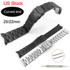 USA Solid 316L Stainless Steel Band Watch Bracelet Strap w Curved Ends Wristband image