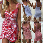 Womens Sexy Strappy Ruffle Check Plaid Bodycon Mini Dress Party Slim Sundress