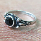 925 Sterling Solid Silver Black Onyx Round Ring Promise Jewelry Handmade