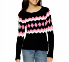 Arizona Long-Sleeve Popo Sweater Juniors Size S, XXL New Tokyo Pink/blk