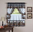 naturally home Mason Jars Kitchen Curtain Cottage Set, Tiers and Ruffled Swag, 2