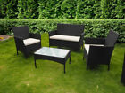 Rattan Garden Furniture 4-piece Set Chairs Sofa & Table Outdoor Patio Indoors Uk