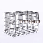 Pet Cat Stainless Steel Removable Hanging Food Water Bowl for Crate Cage Coop