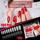 Color French Style Long Oval Shape False Nails Artificial Tips Nail Art Patch