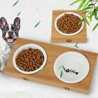 Drinking Food Raised Dish Ceramic Dogs Cat Stress Free With Bamboo Rack Pet Bowl
