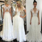 Boho Lace Wedding Dresses for Bride Long A Line V Neck Cap Sleeves Beach Dress