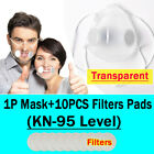 Clear Face Mouth Covers Masks +10xfilters Anti-droplets Respirator Reusable Mask