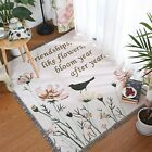 Traditional American Country Floral Birds Cotton Rug Sofa Throw Blanket Tapestry
