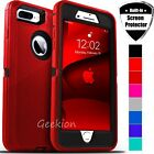 For iPhone 6 6s 7 8 Plus Shockproof Defender Hard Case Cover + Screen Protector